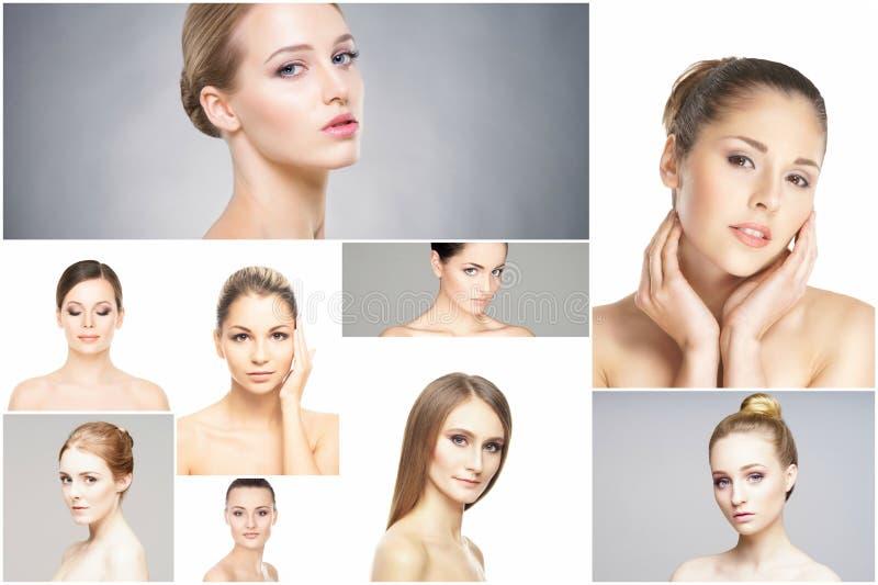 Collage av stående av unga kvinnor i makeup royaltyfri bild