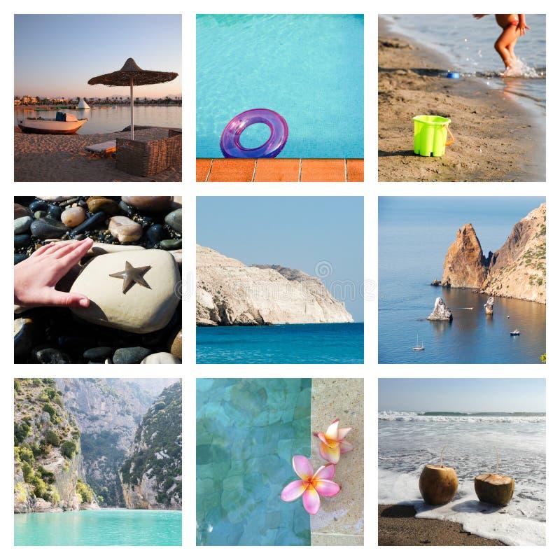 Collage av strandferieögonblick royaltyfri foto
