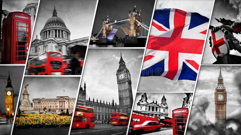 Collage av symbolerna av London, UK arkivbilder
