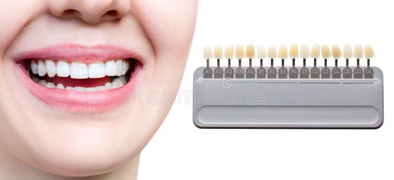 Collage av tandpaletten med att g?ra vit kvinnliga t?nder arkivfoto