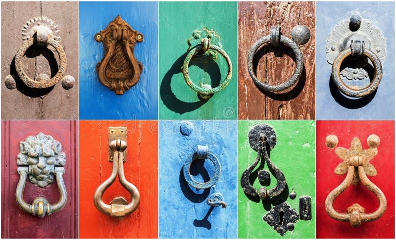 Collage av tappningjärnhandtag på gamla dörrar royaltyfria foton