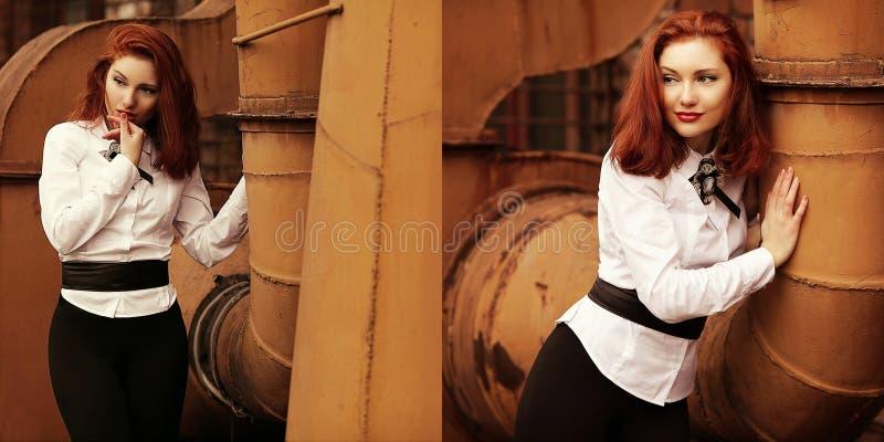 Collage av tappningstående av den härliga rödhåriga flickan arkivfoton