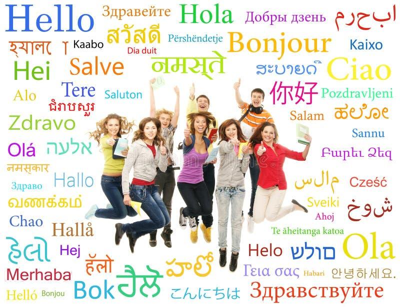Collage av tonåringar som hoppar med ord royaltyfri foto