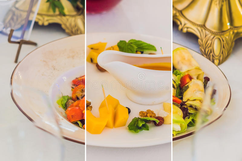 Collage av tre sorter av disk som sköter om service Restaurangtabell med mat Enormt belopp av mat på tabellen Pläterar av mat D royaltyfria bilder
