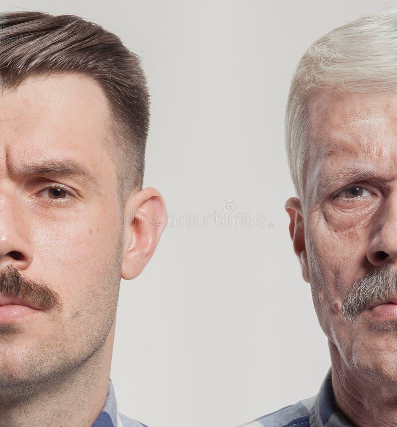 Collage av två stående av den samma gamala mannen och unga mannen Lyfta för framsida, åldras och skincarebegrepp Conparison royaltyfri foto