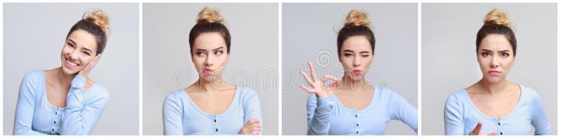 Collage av ung kvinnas stående med olika sinnesrörelser arkivbilder
