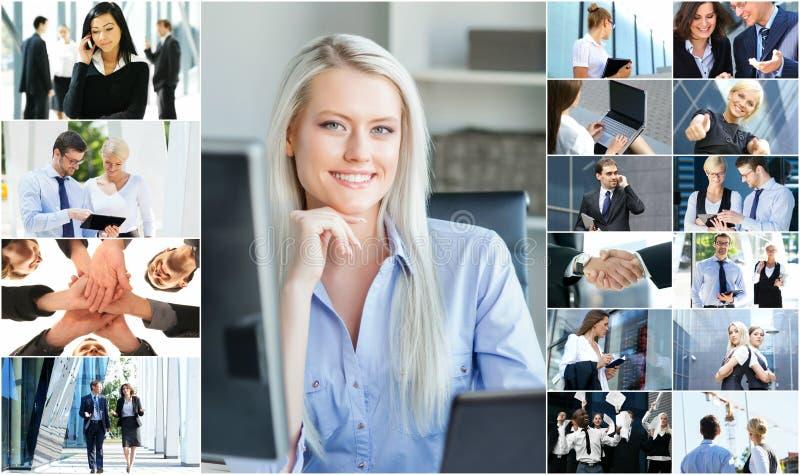 Collage av ungt affärsfolk royaltyfri fotografi