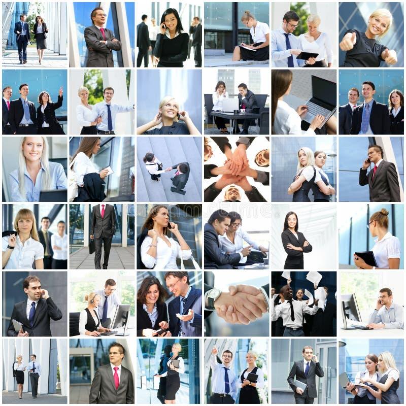 Collage av ungt och lyckat affärsfolk arkivfoton