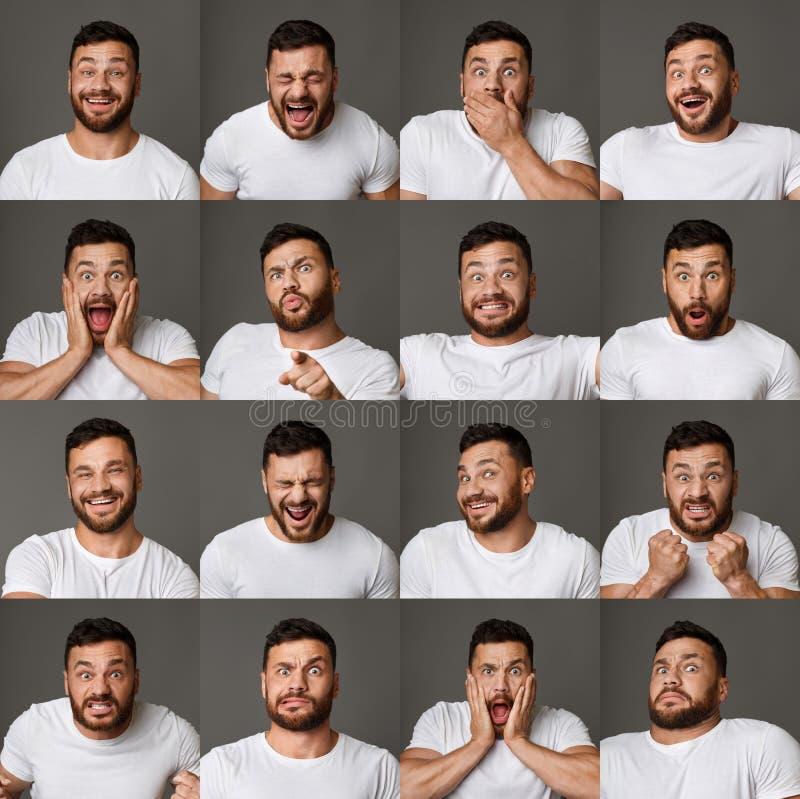 Collage av uttryck och sinnesrörelser för ung man royaltyfri fotografi
