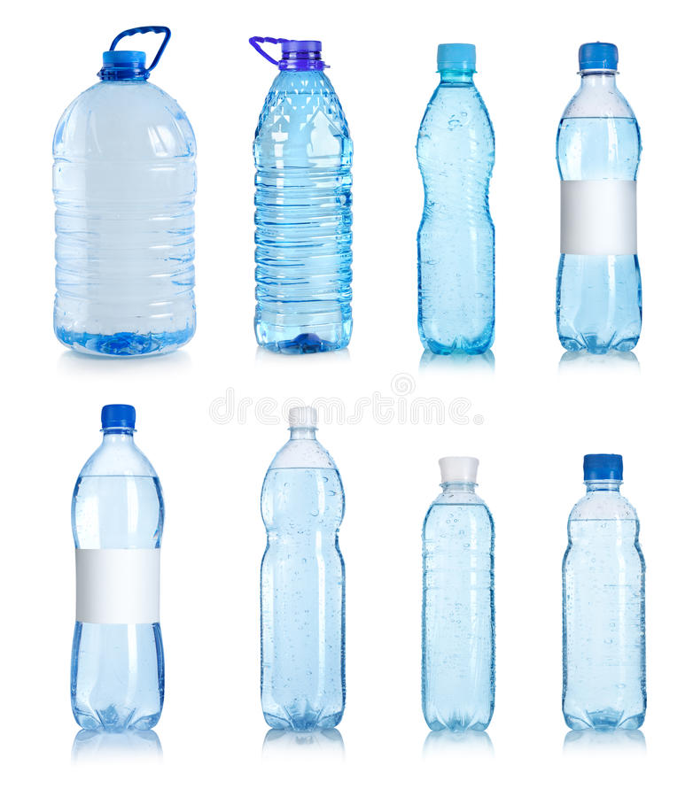 Collage av vattenflaskor royaltyfri fotografi