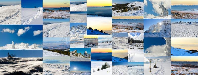 Collage av vinterfoto arkivfoton