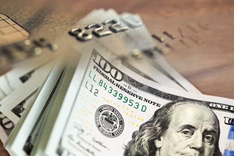 Collage avec cent factures de dollar US et photographie stock libre de droits