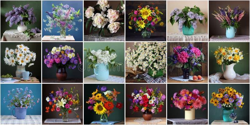 Collage avec des bouquets des fleurs La vie toujours avec un bouquet dans a photographie stock libre de droits
