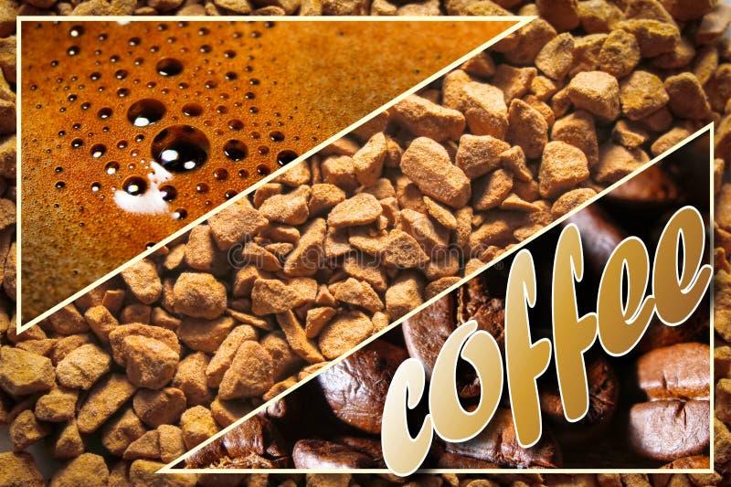 Collage avec des détails de café photographie stock libre de droits