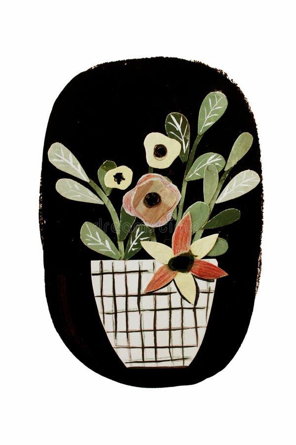Collage avec des fleurs illustration stock
