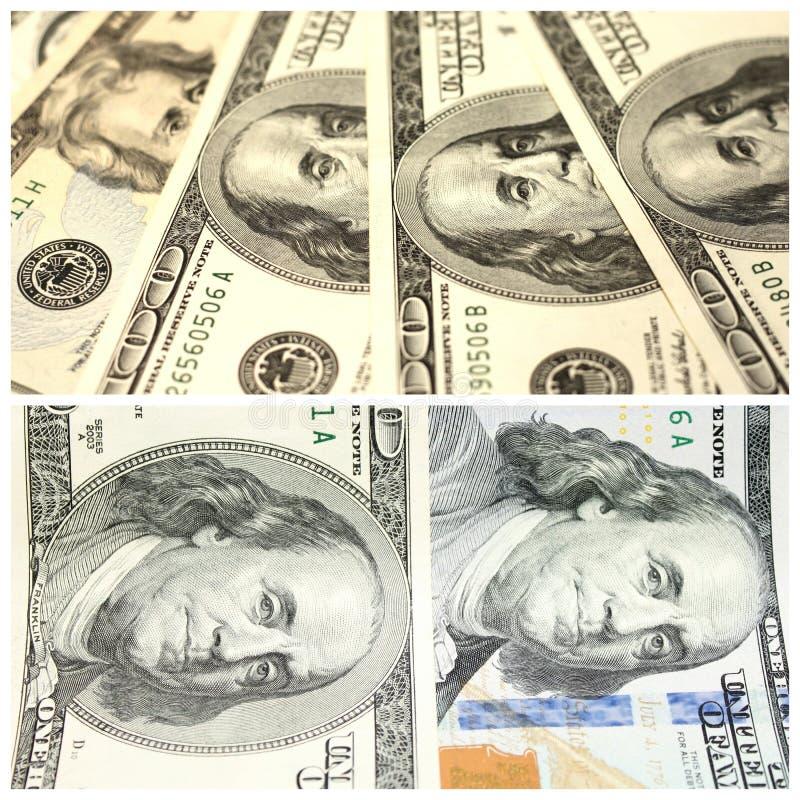 Collage avec des fragments de cent banconotes du dollar images libres de droits