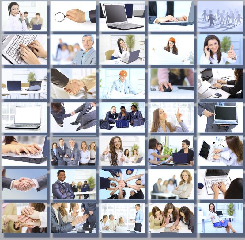 Collage avec des hommes d'affaires travaillant ensemble image stock