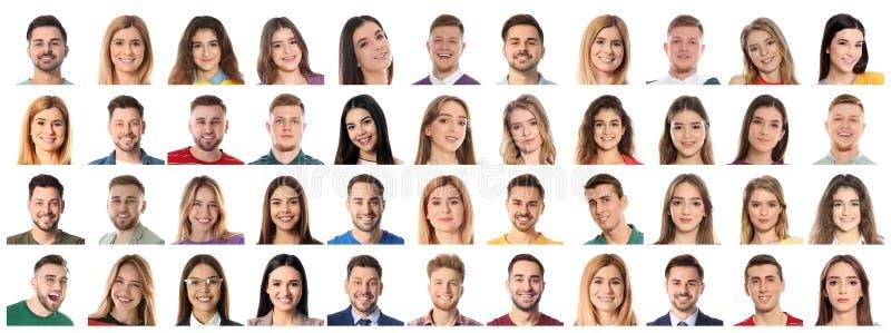 Collage avec des portraits des personnes émotives sur le blanc image stock