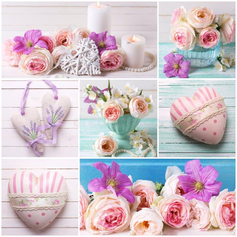 Collage avec des roses et des coeurs images stock