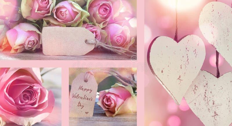 Collage avec des roses pour le jour de valentines photos libres de droits