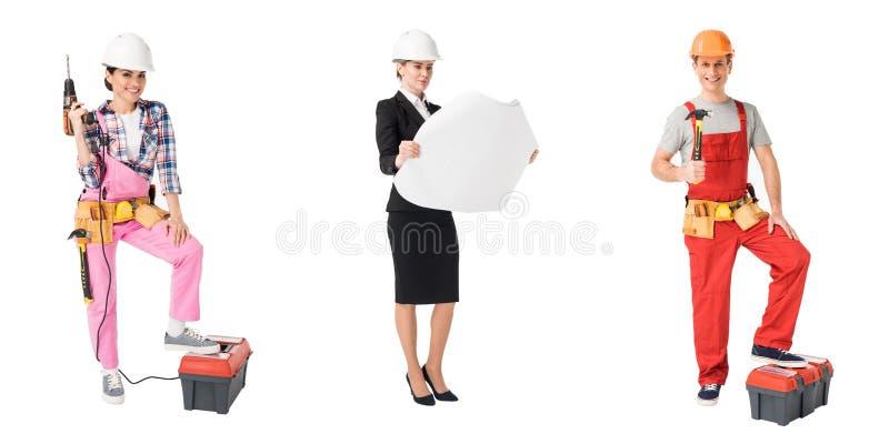 Collage avec des travailleurs de professions de construction et de réparation photo stock