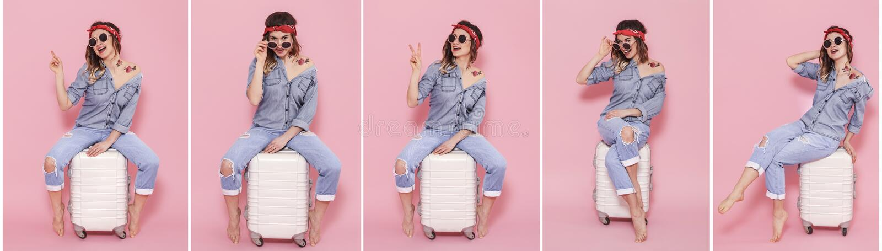Collage avec la femme et la valise sur le fond rose photos stock