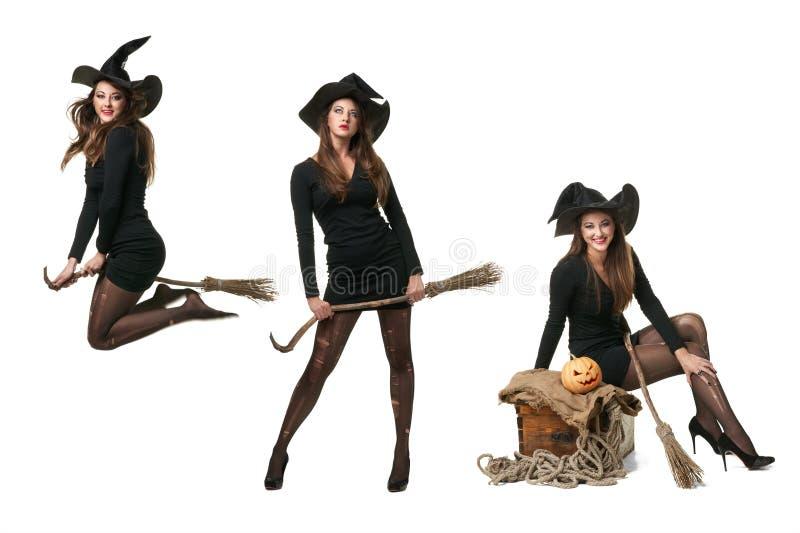 Collage avec trois sorcières dans différentes poses images stock