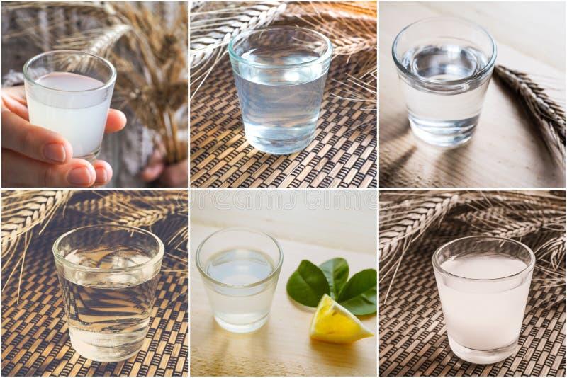 Collage avec un grand choix de spiritueux dans un verre photo stock