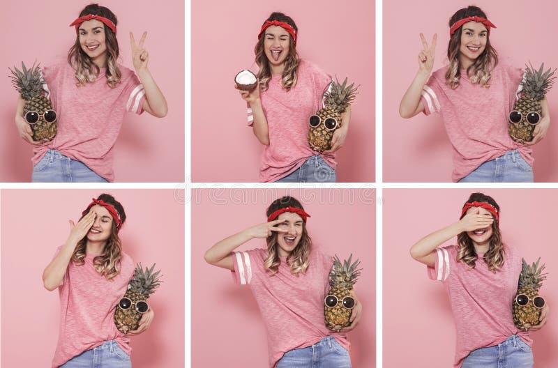 Collage avec une jeune femme avec différentes émotions photos stock
