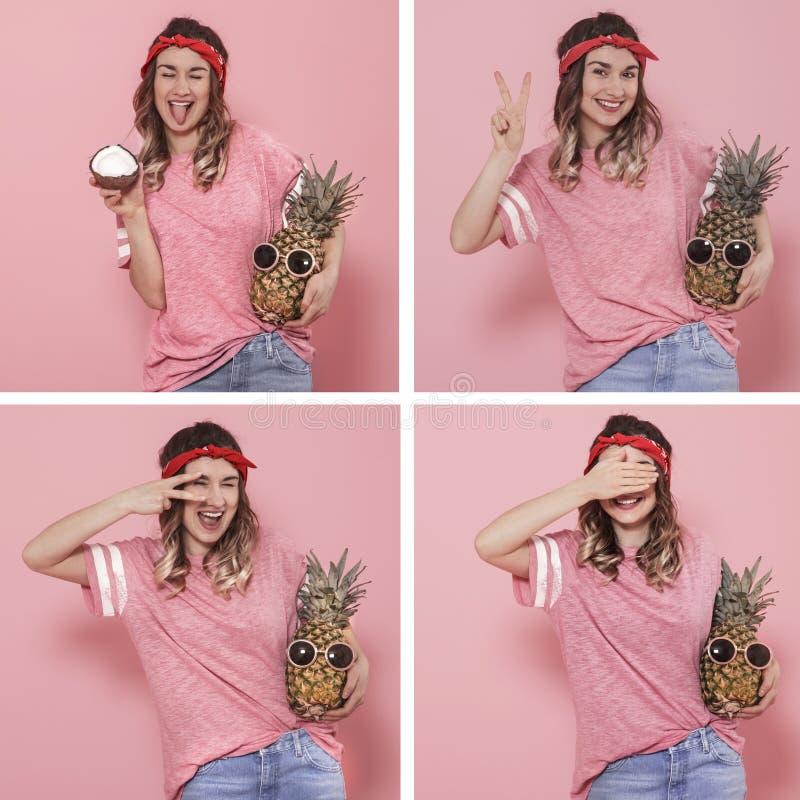 Collage avec une jeune femme avec différentes émotions image libre de droits