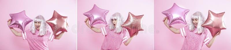 Collage avec une jeune femme gaie sur un fond rose photo libre de droits