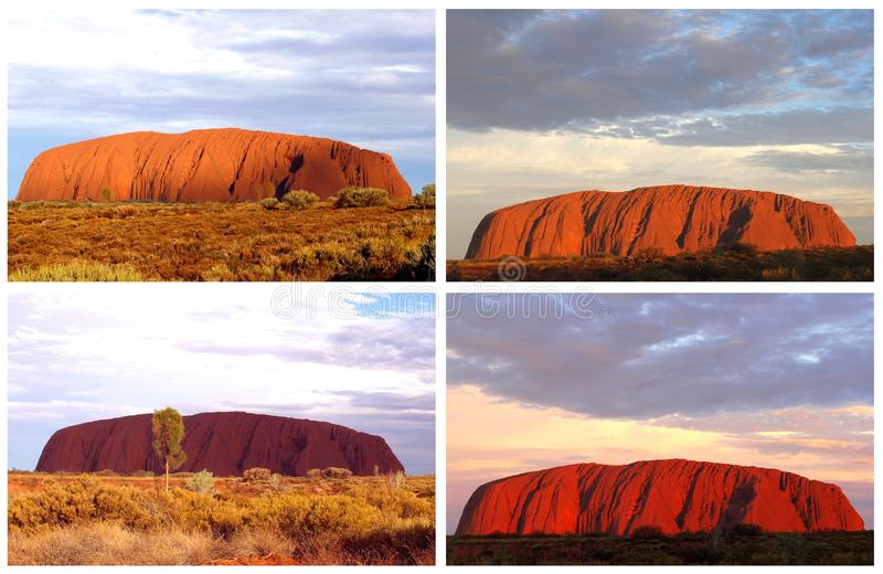 Colorful collage of Uluru Ayers Rock (Unesco) sunsets, Australia. Collage with different colors of Ayers Rock during sunset in Australia; Ayers Rock is a royalty free stock photo