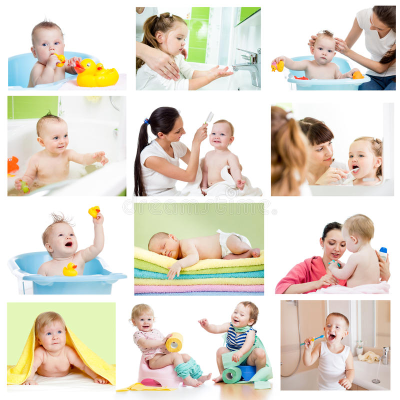 Collage Of Babies Kids At Bath-time. Hygiene Conce Stock ...