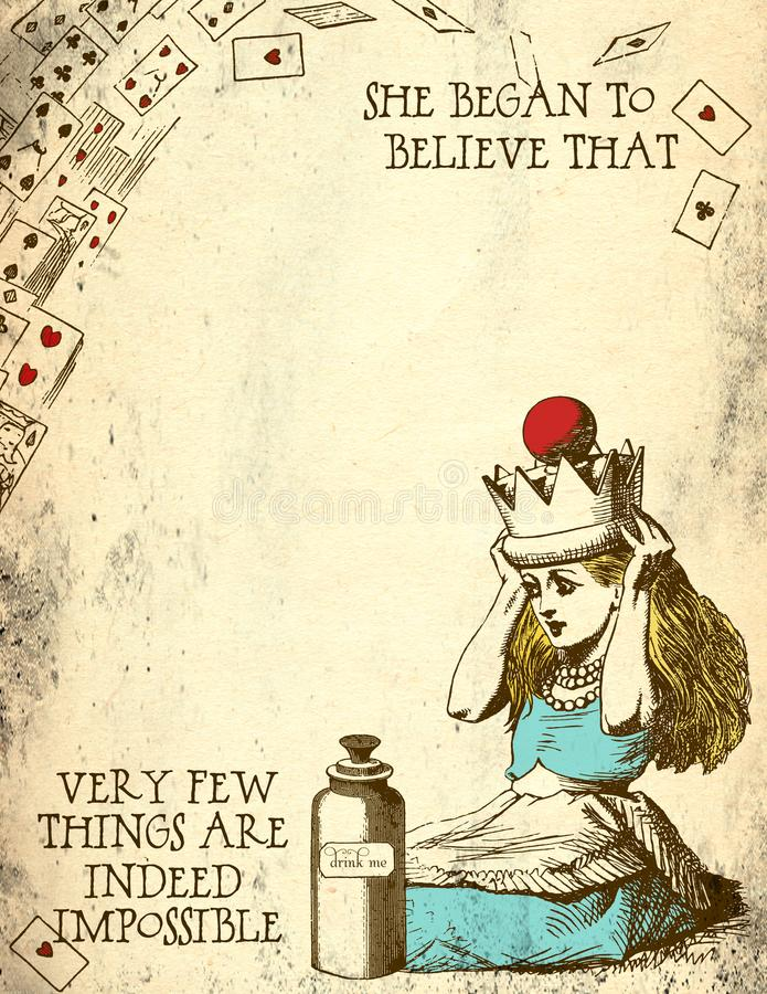 Alice in Wonderland Distressed Grunge Paper - Nothing is Impossible - Alice With Crown royalty free illustration