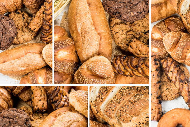 Collage of bakery food close-up for background stock photo