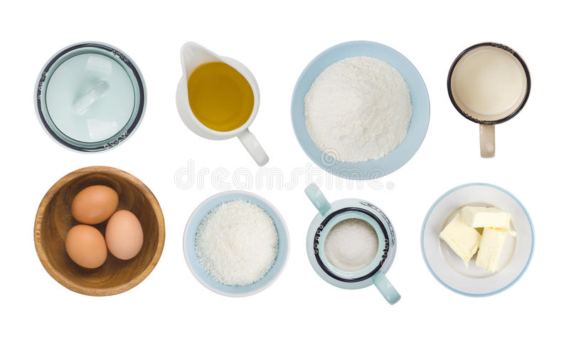 Collage of baking ingredient objects isolated on white, top view royalty free stock images
