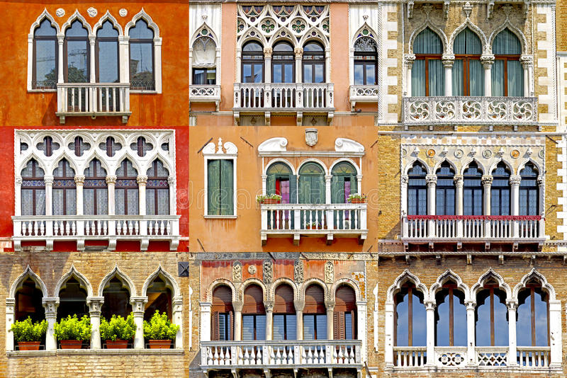 Collage of balconies in Venice, Italy royalty free stock photos
