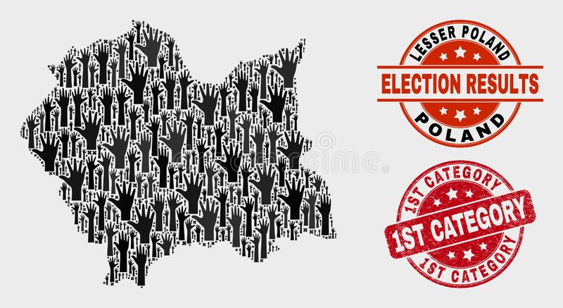 Collage of Ballot Lesser Poland Voivodeship Map and Scratched 1St Category Stamp Seal royalty free illustration