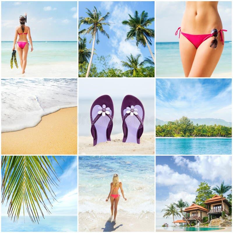Collage: balneario, dando masajes, centro turístico, atención sanitaria Colección del concepto de las vacaciones de verano imagenes de archivo