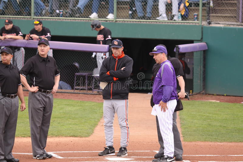 Collage baseball. University of Portland and Oregon State coached meet at home plate before the game starteed. April 18,2013 stock image