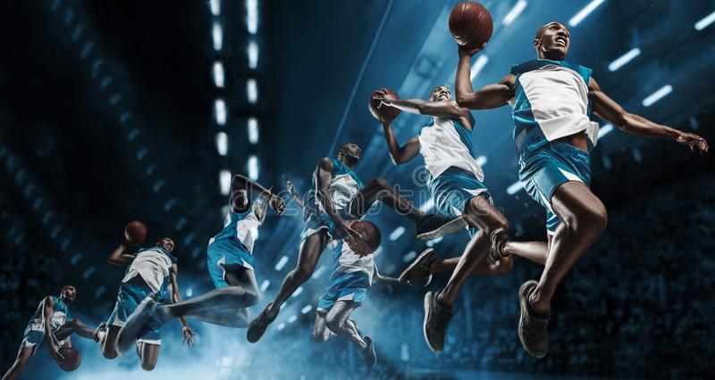 Collage. Basketball player on big professional arena during the game. Basketball player making slam dunk. royalty free stock images