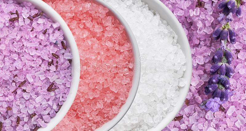 Collage of bath salt in bowl. Top view. SPA concept stock photography