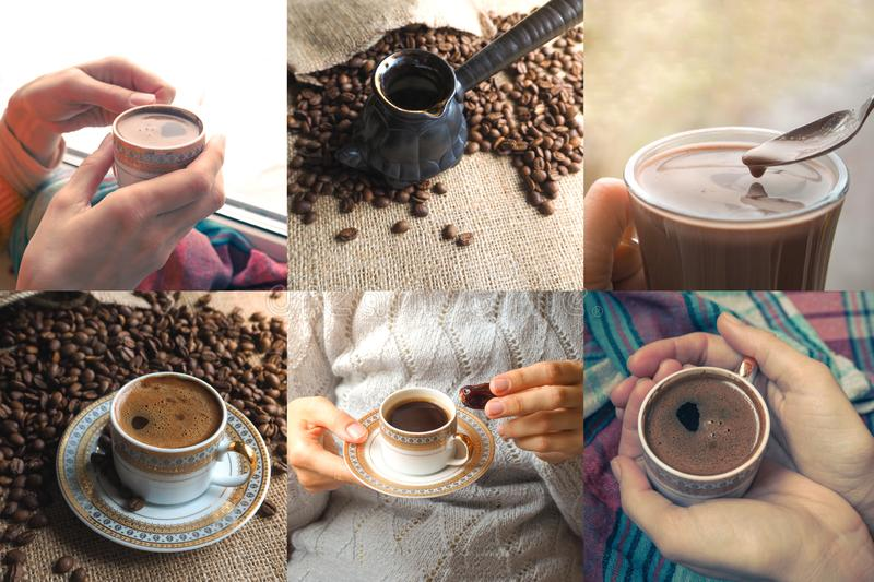 Collage with beans and a cup of coffee.  royalty free stock photos