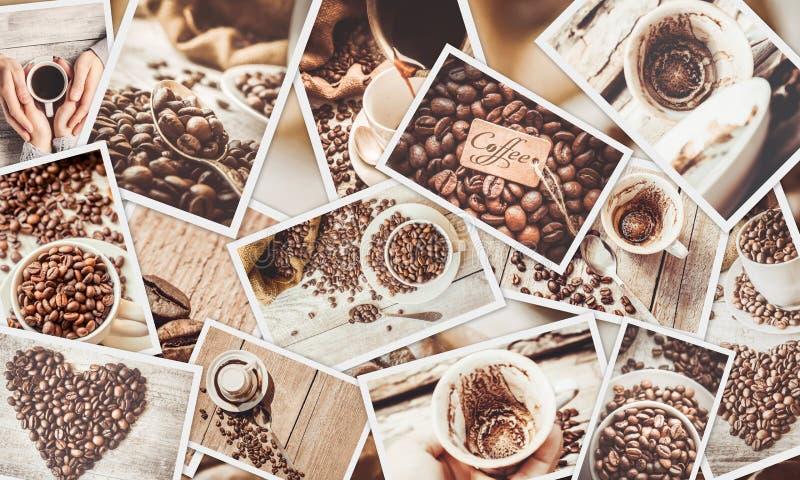 Collage beaucoup de photos de café images libres de droits