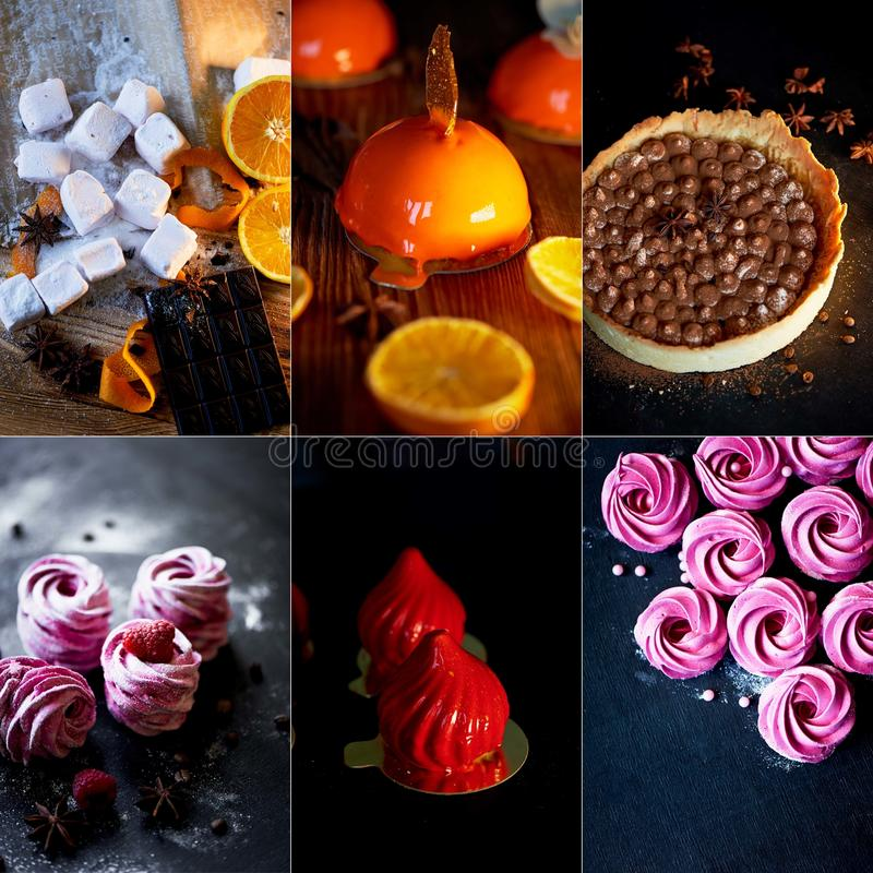A collage of beautiful and delicious sweets. Cakes . Works of culinary art royalty free stock images