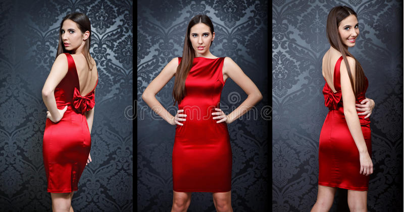 Collage of Beautiful fashion model royalty free stock photos