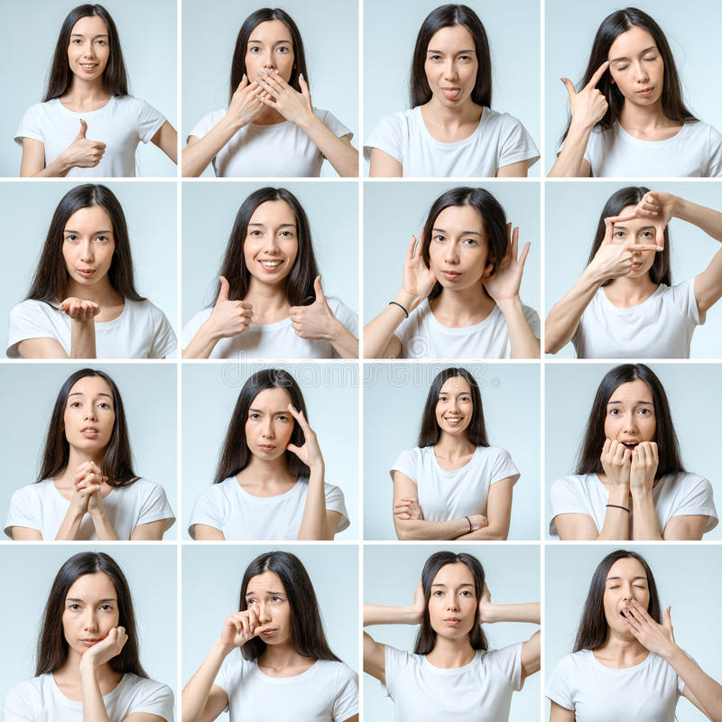 Collage of beautiful girl with different facial expressions stock photos