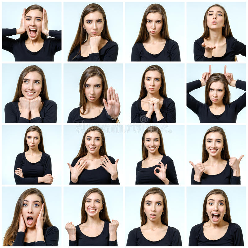 Collage of beautiful girl with different facial expressions stock photography