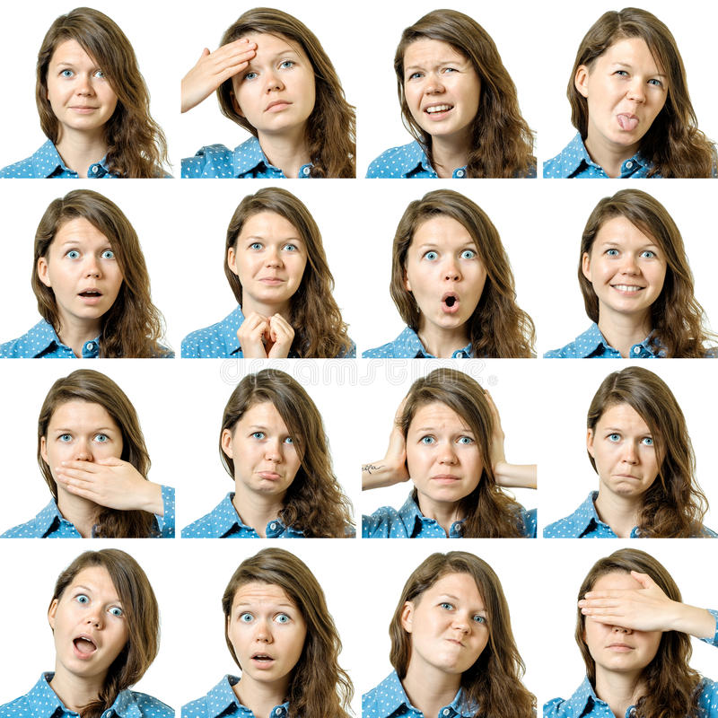 Collage of beautiful girl with different facial expressions. Isolated royalty free stock image