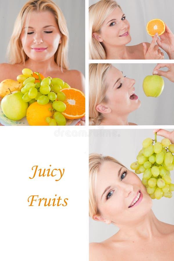 Collage.beautiful vrouw met vele verse vruchten royalty-vrije stock foto